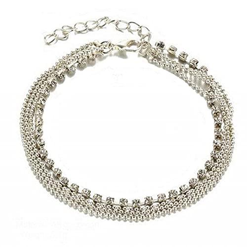 Pulsera de cristal de capa checa con cadena de bolas, cadena de tobillo para mujer, joyería