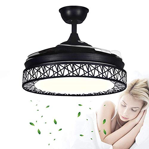 CHENJIA Techo Invisible luz del Ventilador, Ventilador de Techo con Luces LED y Control Remoto, Modern Fan lámpara del Dormitorio Salón Comedor, Luz silenciosa Ventilador