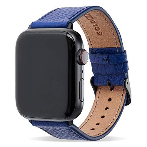 GOLDBLACK Correa de piel compatible con Apple Watch pulsera de Napa azul (adaptador negro), 38/40 mm
