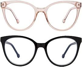 Madison Avenue 2 Pack Blue Light Blocking Glasses Oversized Cat Eye Blue Light Glasses for Women,Spring Hinges Anti Blue Ray Eyesatrain Computer Eyeglasses(Brown/Black)