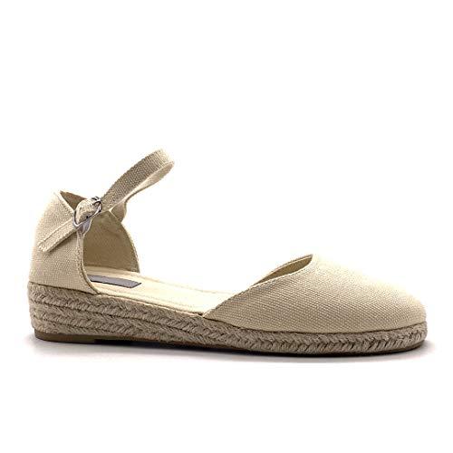 Angkorly - Chaussure Mode Sandale Espadrille Folk/Ethnique Bohème Romantique Femme avec de la Paille tressé Simple Basique Talon compensé 3 CM - Beige - 787-1A T 36