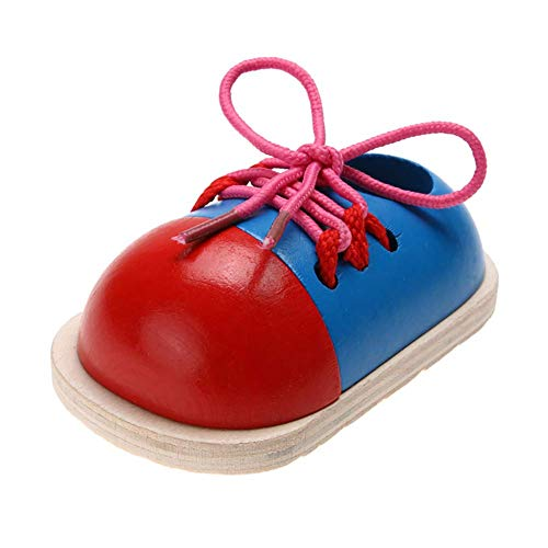 Ogquaton 1 stück Holz Schnürung Schuh Spielzeug Lernen Schnürsenkel Binden, Feinmotorik Spielzeug Vorschule Pädagogisches Threading Spielzeug für Kinder Stilvoll und Praktisch