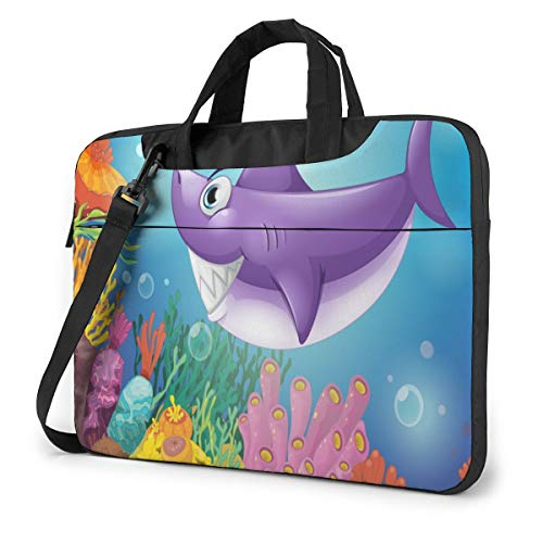 Smiling Shark Under Sea Laptop Case 14 Inch Computer Carrying Protective Case with Strap Bag