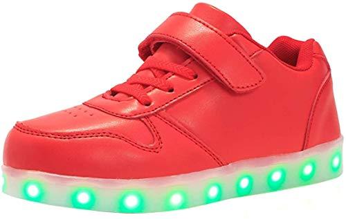 Unisex Bambini LED Light-up Scarpe,7 Colori USB Carica Lampeggiante Luminosi Running Sneakers,Bambino Velcro da Skateboard Sneakers,Ragazze e Ragazzi Light Up Fashion Party Street Dance Sneakers