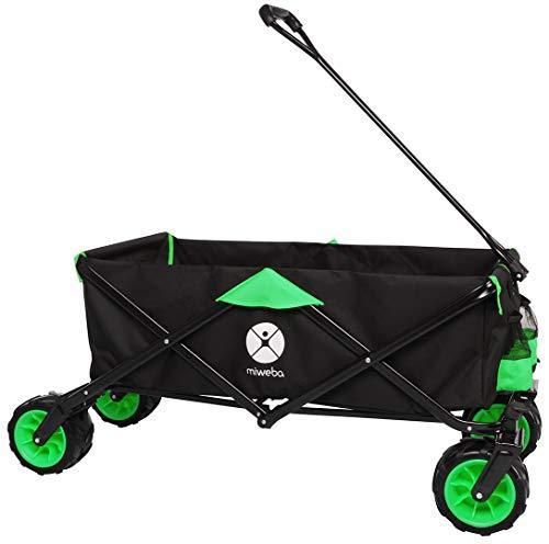 Miweba Faltbarer Bollerwagen MB-30 für Kinder - Softreifen - Ziehstange - Transporttasche - Klappbar - UV-Beständig - Handwagen faltbar (Grün)