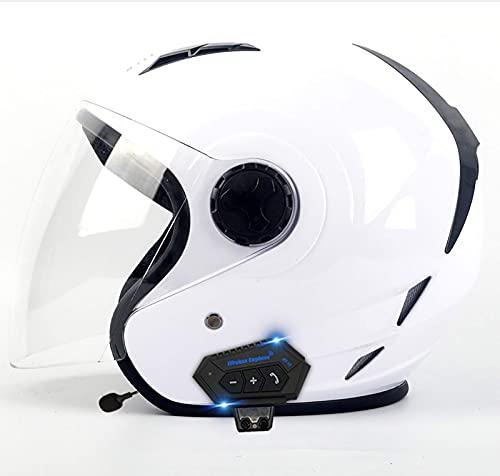 HYRGLIZI Cascos Bluetooth para Motocicleta, Aprobado por Dot, Casco Jet para Motocicleta, Medio Casco Abierto para Motocicleta 3/4, con micrófono para Respuesta automática 2, S = (55~56 CM)