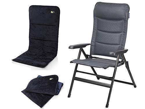 Campart Travel robuuste aluminium campingstoel in antraciet met zacht zitkussen, zithoogte 50 cm, in 7 standen verstelbaar