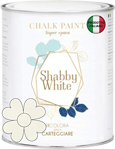 Shabby Chic White Chalk Paint 2,5 litros pintura Shabby Chic Vintage muebles de pared otro extra mate 40 colores (blanco antiguo 0502-Y50R)