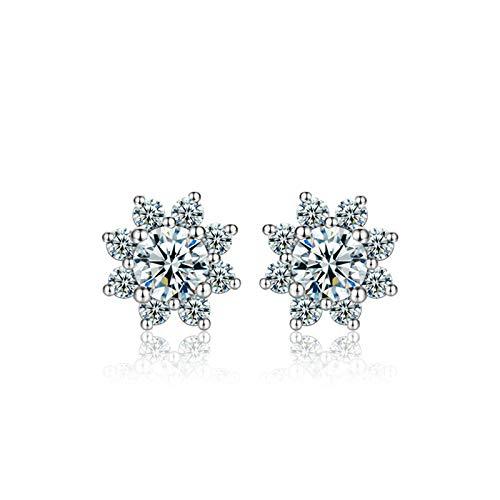 KnSam Pendientes para mujer en plata de ley 925, diseño de girasoles, brillantes y circonitas, plata
