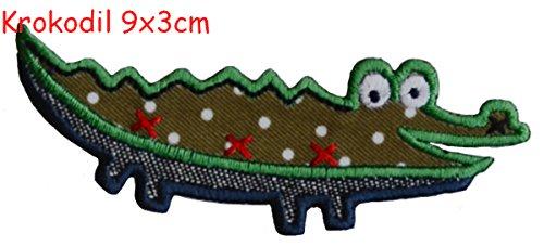 Krokodil 9X3cm Aufbügler Flicken Bügelbild Stoff Patch Kleider Aufnäher zum Bügeln auf Turnsack Halstuch Wimpel Rucksack Tasche Hut Schal Jeans Jacke Kissen Türschild Decke Hosen Fahne Hemd Kleider K