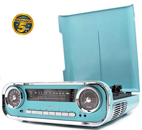 #04 IL PIU' TRENDY - Lauson Giradischi Vintage | Bluetooth | Usb | Altoparlante Stereo Incorporato | Lettore Vinile CD Desing Retro | Giradischi con Radio FM | CL606 (Legno)