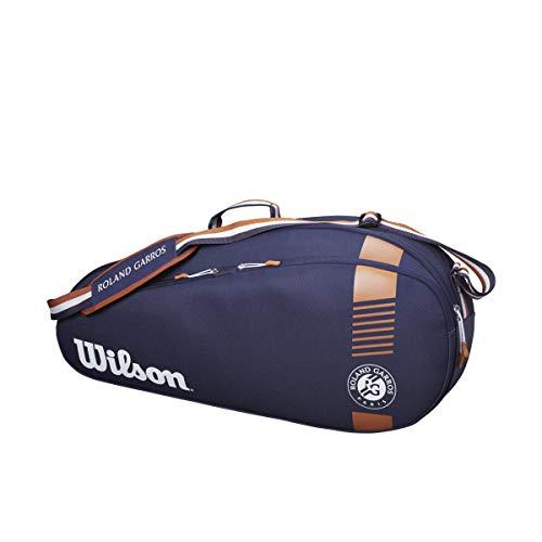 Wilson, borsa per racchette Roland Garros Team 3, fino a 3 racchette, blu navy / marrone, WR8006801001