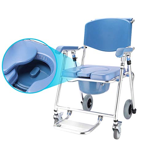Medical Rolling Chair Bedside Commode Transport Folding Bathroom Shower Chair Padded Seat for Elderly Person/Pregnant Woman/Handicapped Person Potty Chair