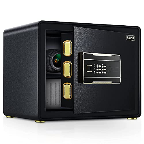 ADIMO Safe Box with 1.23 Cubic Feet, Safe Cabinet with 2 Master Key, Sensitive Alarm System to...