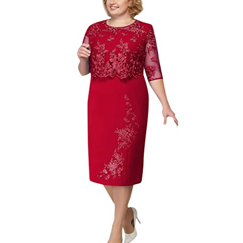 Vectry Damen Kleider Plus Size Spitze Cocktail Abendgesellschaft Kleid Kurzarm Elegante Mutter der Braut midi Kleid solide Elegante Mutter der Braut Casual Freizeit Kleid Rot S