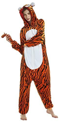 FunnyCos Erwachsene Strampelanzug Tier Pyjama Unisex Halloween Cosplay Kostüm Verrücktes Kleid Loungewear Tiger M