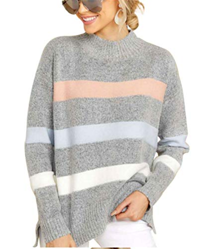 Vrouwen Button Sweater Lazy Wind Loose Trui coltrui Knitwear Winter Hooded (Color : Grey, Size : XL)