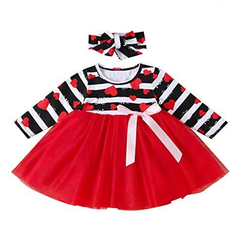 Janly Clearance Sale Vestido de niña para niñas de 0 a 10 años, vestido de princesa de malla con estampado de corazón, trajes de primavera, rojo, 12-18 meses