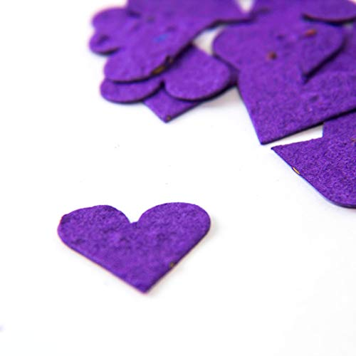 Purple Flower Seed Paper Heart Plantable Party Confetti (Qty. 100)