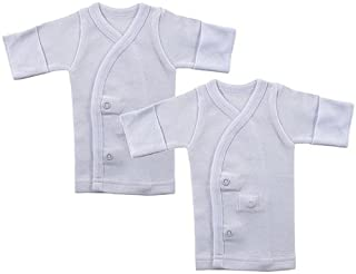 Luvable Friends Preemie 2-Pack Long Sleeve Side Snap Shirts, White