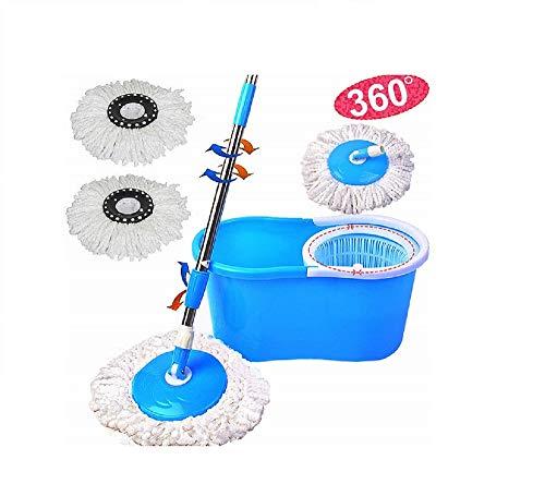 PrimeTrendz Microfiber Spinning Mop W/Bucket 2 Heads Rotating 360