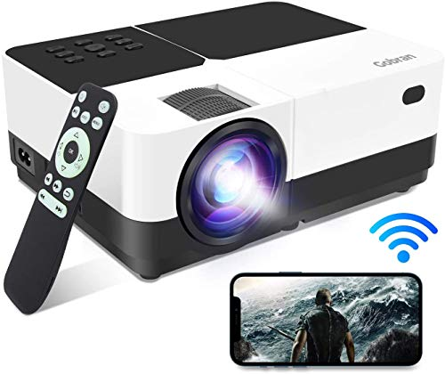 Beamer WiFi Unterstützt 1080P 6500Lux, Gobran Wlan Projektor kabellos Bildschirm Teilen, Heimkino Projektor mit 60000 Stunden LED, Support HDMI/USB/TV Stick/Xbox/Laptop/iOS/Android Smartphone
