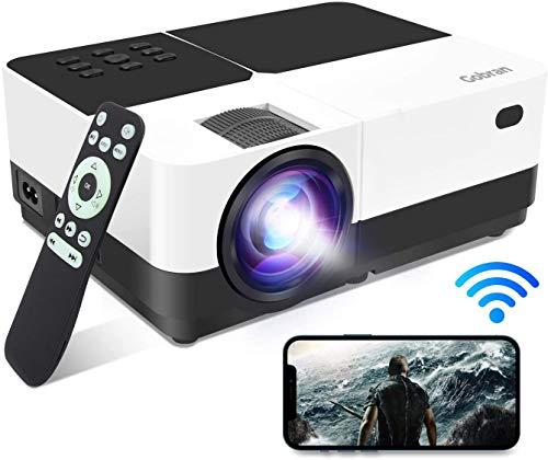 Beamer WiFi Projektor Unterstützt 1080P 6500Lux Spiegelbildschirm/Mirroring Screen,Gobran Heimkino Projektor mit 60000 Stunden LED,Kompatibel mit TV/HDMI/SD/AV/VGA/USB/PS4/X-Box/iOS/Android/Smartphone