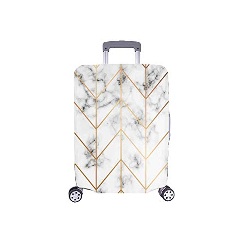 InterestPrint Golden Geometric Lines Marble Stone Travel Luggage Cover Suitcase Baggage Protector Fit 18'-21' Suitcase
