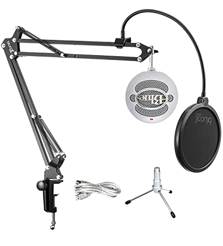 Blue Snowball iCE USB Mic for Recording and Streaming on Windows and Mac - Plug and Play Cardioid Condenser Microphone with Adjustable Stand (White) Bundle with Blucoil Boom Arm Plus Pop Filter