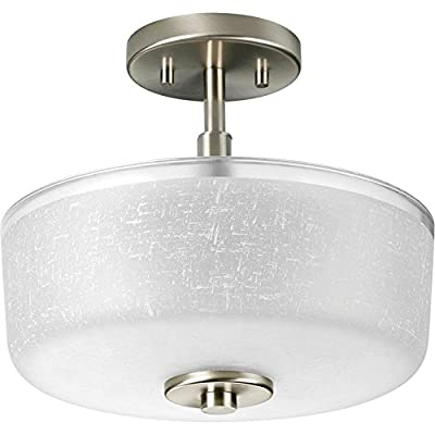 Large Semi-Flush Mount Ceiling Light Fixture | Brushed Satin Nickel with Textured Glass| Close to Ceiling Light | Round, 3-Light Farmhouse, Industrial, Modern