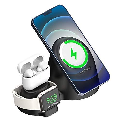 ALLWIN Cargador Inalámbrico 3 En 1, Soporte De Carga Rápida Qi De 15W para iPhone 12 Mini Pro MAX 11 Pro MAX XS XR X 8 Plus Samsung Huawei Android para Apple Watch Airpods 6 5 4 3 2