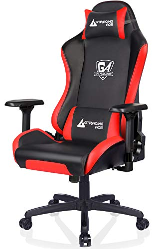 GTRACING Ergonomic Gaming Chair Pu Leather Racing Office Computer Chair,Home Office Chair,High Back Gaming Desk Chair 4D Adjustable Arms,Heavy Duty Metal Base,Swivels Reclines Big and Tall(Red)