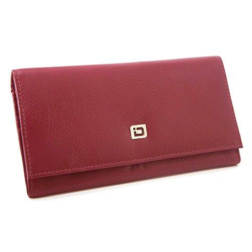 RFID Wallet Ladies Clutch - RFID Protective Ladies Wallet - RFID Secure Wallets Stop Electronic Pickpocketing (Red)