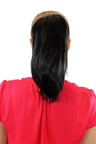 Extension, postiche, châtain/noir, tresse, attache par pince, lisse, court, env. 25 cm, 15-9-3