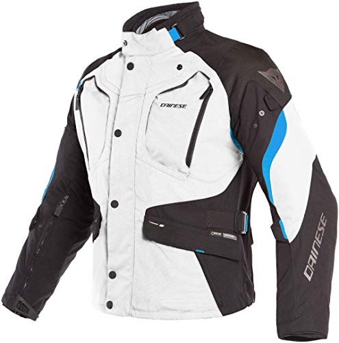 Chaqueta de moto Gore Tex Dainese Dolomiti GTX impermeable, gris, negro y azul, 44