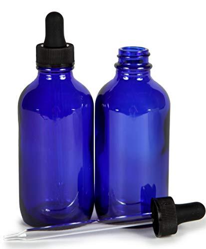 Vivaplex, Cobalt Blue, 4 oz Glass Bottles, with Glass Eye Droppers - 2 pack