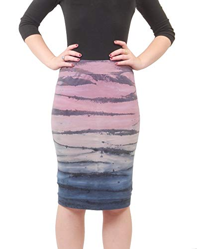 Hard Tail Forever Pull On Pencil Skirt, Cotton, Knee Length Style W-321 S Rainbow Tiedye