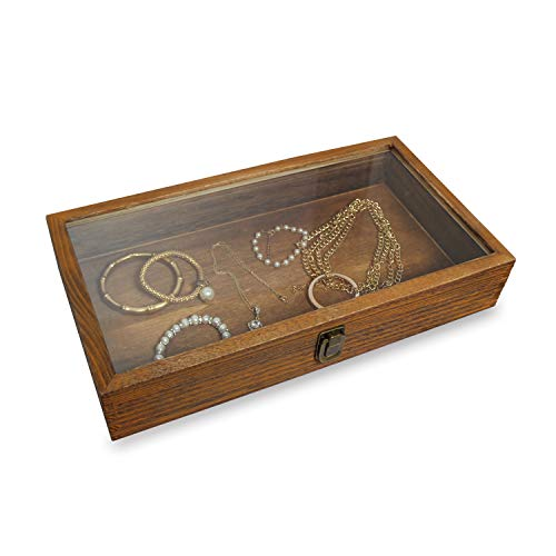 MOOCA Wood Glass Top Jewelry Display Case Accessories Storage, Wooden Jewelry Tray for Collectibles, Home Organization Box with Metal Clasp and Tempered Glass Top Lid, Brown