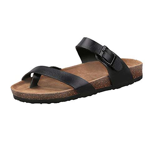 Zapatillas de Estar por Casa Ultraligera,Zapatillas planas de verano Pareja Arrastre Sandalias de corcho Piscina Playa Controladores Flip Flops Casual Sandalias Zapatos antideslizantes-negro_40