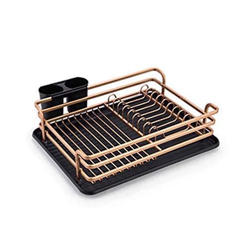 Aluminium afdruiprekken met grote opslagcapaciteit Bestek Holder, verwisselbare Afdruiprek Tray Kop/Glas houder voor Kitchen Sink,Gold