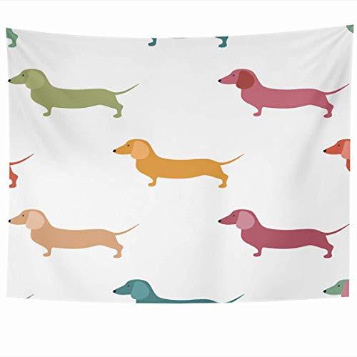 Tapices para colgar en la pared Raza Patrón de elemento animal Hot Cute Puppies Dachshound Dogs Adorable Puppy Animals Wildlife Tapiz de papel Manta de pared Decoración para el hogar Sala de estar Dor