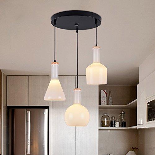 WWW kroonluchter, 3 flessen, wit, voor restaurant, modern, creatief, wit, ideaal voor het leven, plafondlamp