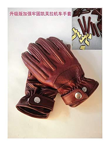 S*ridding gloves Protective Guantes de Ciclismo de Cuero Antideslizantes, Protectores Transpirables de Motocicleta Non-Slip (Color : Coffee, Size : M)