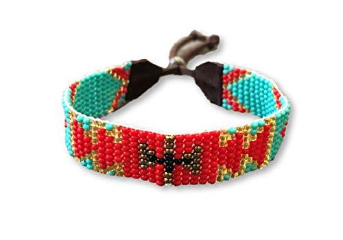 Mayan Arts - Pulsera Hecha a Mano, Cuentas de Cristal, Cuentas de Color Turquesa y Rojo, Varios diseños, Piel, Estilo Shabby Chic, Estilo Boho, Tribal Azteca