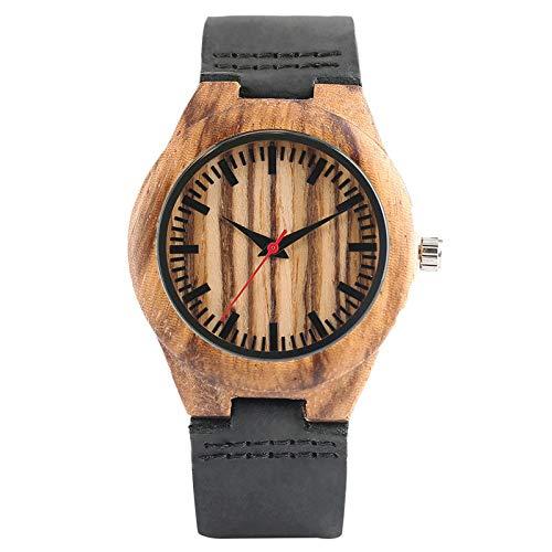 UIOXAIE Reloj de Madera Relojes de Madera, Reloj Minimalista de bambú Natural para Hombres, Reloj de Cuarzo analógico Rojo para Mujer, Brazalete de Cuero Genuino, Regalos, Mujeres