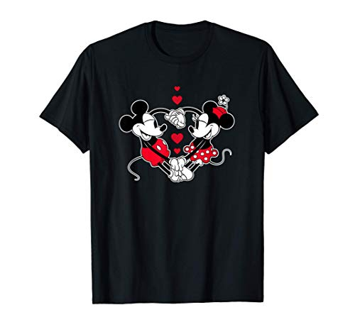 Disney Mickey and Minnie Love Gaze Hearts Maglietta