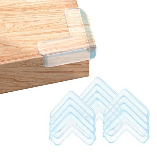 Eckenschutz Kantenschutz Transparent aus Silikon für Baby Schutz, Kinder und Möbel, 12 Stück L-förmiges Eckenschutz Mit Extra Aufkleber