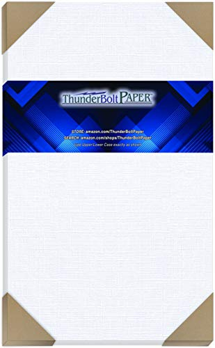 "50 Bright White Linen 80# Cover Paper Sheets - 8.5"" X 14"" (8.5X14 Inches) Legal