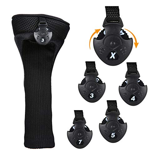 JVSISM Black Golf Head Covers Driver 1 3 5 Fairway Woods Headcovers for Golf Club Fits All Fairway and Driver Clubs 3Pcs