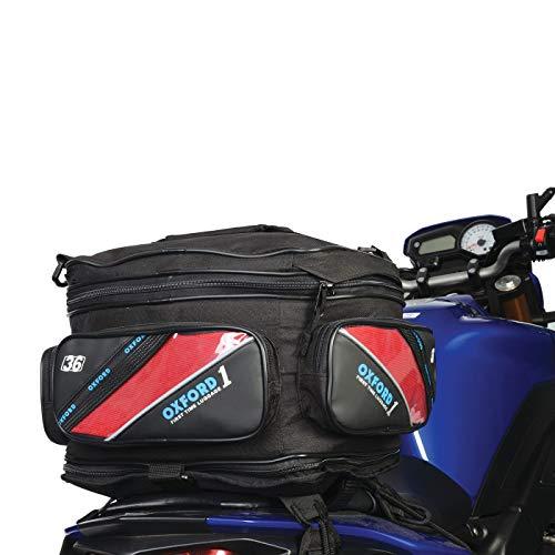 Oxford OL436 Satteltasche für Wilder Beifahrersitz für Motorräder, Roller, Reise, 36 Liter, schwarz mit Gummibändern für universelle Befestigung mit wechselbaren bunten Bändern, reflektierend